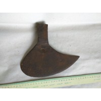 2.57 lbs. ANTIQUE FRENCH SIGNED BEARDED AXE HEAD OVAL SHAPE RARE