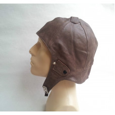 MILITARY PILOT BROWN LEATHER HELMET- HAT- MOTORCYCLE STEAMPUNK B