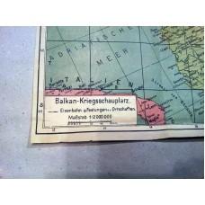 WWII WORLD WAR 2 ORIGINAL GERMAN MAP OF THE BALKANS BATTLE FIELD